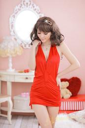 Wholesale New Sexy Lingerie Lady Dress Backless Night Clubwear Stage Wear V neck Open Bra Straps Neck W02