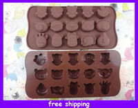 Wholesale 15 Holes Animal Chocolate Muffin CupCake Cake Candy Ice Silicone Tray Mold Mould Jelly Ice Molds