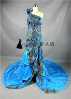Real Photos One-Shoulder Tulle Sexy One Shoulder Front Split Peacock Bow Prom Dress Formal Gown 2013 Modern Mermaid Evening Dresses