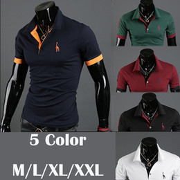 Wholesale Vogue Men Short Sleeve Cotton T shirts Stand Collar Pattterns Shirt Summer Casual T shirt