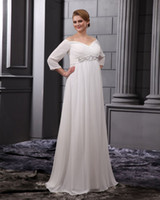 Wholesale 2013 Wedding Dresses Long Sleeves Chiffon Beads V Neck Floor Length Plus Size Wedding Gown