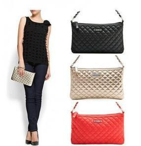 Hb681 Chic Solid Quilted Top Zipper Clutch Handbag Vintage Chain ...