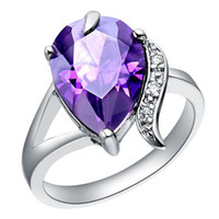 Wholesale HOT SELL NEW sterling silver fashion Elegant purple Austrian Crystal Zircon stone Beautiful ring jewelry