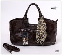 Plain bag lady promotions - Fashion Women Lady Handbag Leather Tote Bags promotion Purse With Leopard Scarf Color VB110