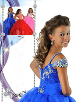 Wholesale 2014 Girl s Pageant Dresses New Ball Gown Beading Pretty Flower Girl Dresses RG