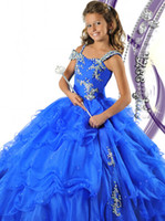 Wholesale 2013 Royal Blue Gril s Pageant Dress Ball Gown Precious Taffeta Spaghetti beads Ritzee Girls