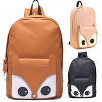 bead pattern book - Girl Fox Pattern Faux Leather Book Backpack Travel Schoolbag Knapsack Bags B393