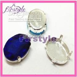 Wholesale sew on crystal beadsOval stone with silver claw setting Sapphire color sew on glass beads sizes opt