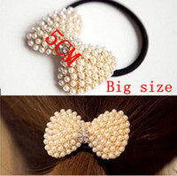 Pearl pony hair - 5 CM Hair Pony Holder Tails Band White Pearl Crystal Tail Band Lovely Bow Shaped Rubber Band Gold