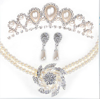 Wholesale Pearl Bridal Jewelry Korean married diamond necklace crown earrings hair ornaments