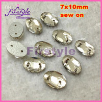 Buttons oval crystal sew on can mix orders to get DHL free sew on crystal beadsoval fancy stone flatback Sew on crystal buttons clear color for Dress Making 7x