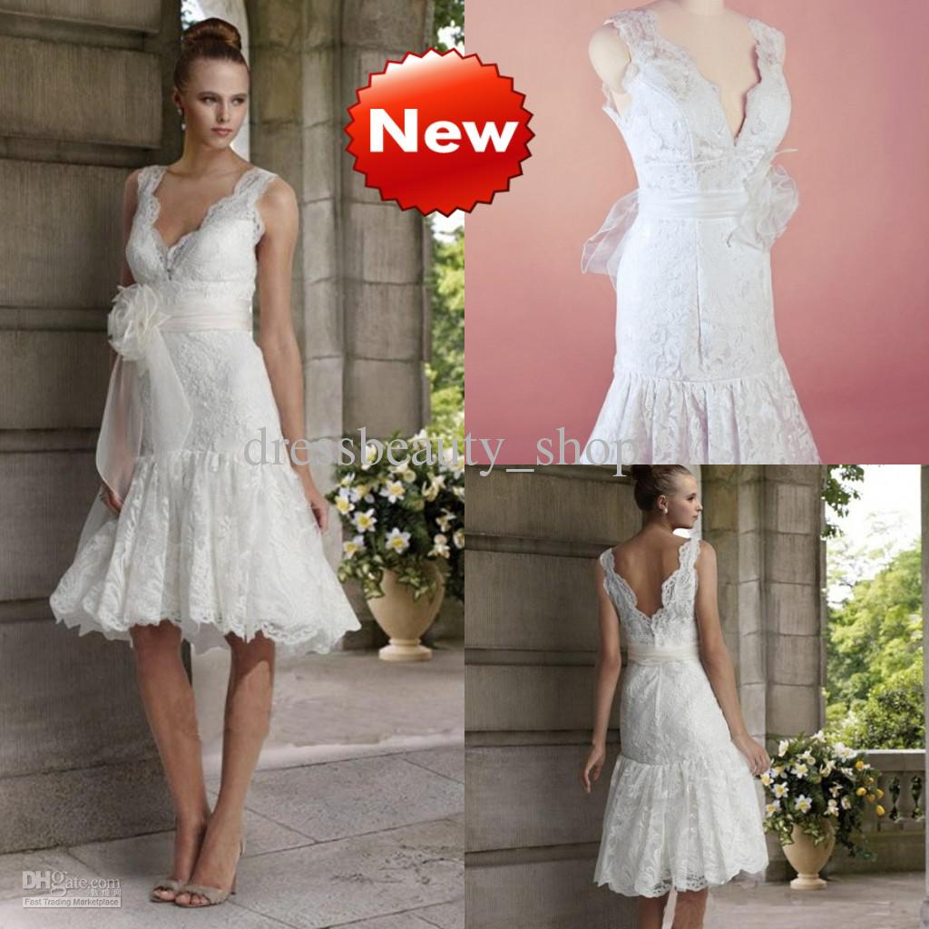 White short wedding dresses cheap