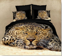 Wholesale 3D visual bedding set cotton leopard Tiger panda Horse oil printed unique animal bedlinen for queen Full size bed sheet linens sets
