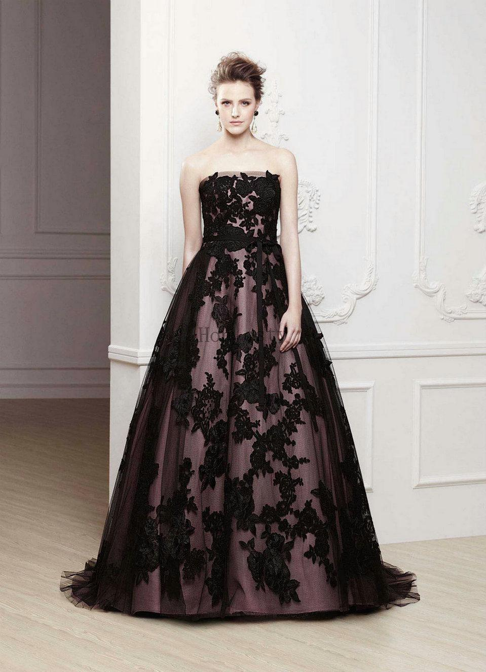 Purple Wedding Dresses Tulle Strapless Beads Black Appliques ...