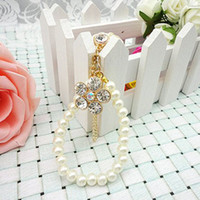 Cheap Min.order is $10(Mix order) Free Shipping Cell Phone Accessories Phone Jewelry Pearl Rhinestone Flow