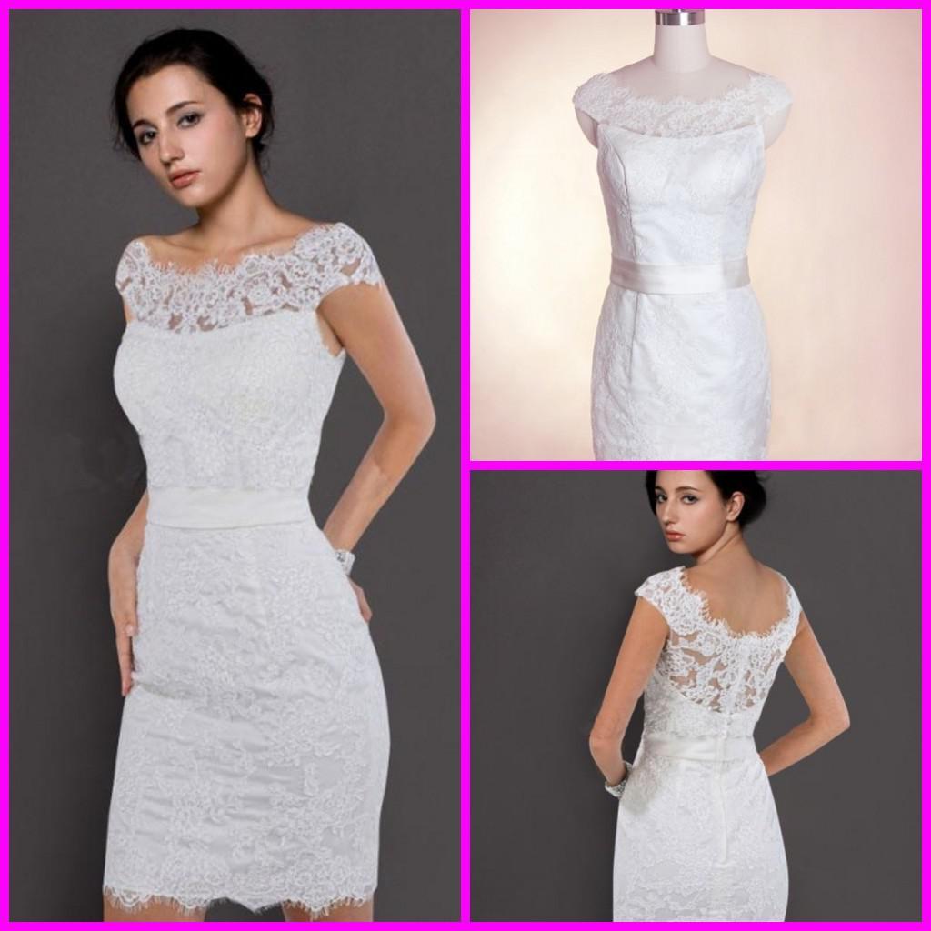 2013 Lace Bateau Neckline Sheath Beach Wedding Dresses Short Simple ...