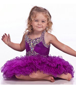 Wholesale Hot Sale Halter Mini Acrylic Beads Shiny Toddler Pageant Dresses Custom Made Little Girls Tutu Dress