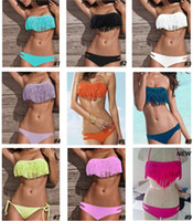 Wholesale 2013 Hot Newest SEXY Woman Bikini Sets Fringe Swimwear Tassels Padded Girl Lady Swimming Swimsuit