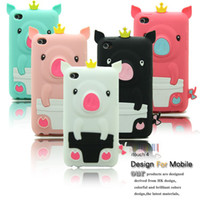 For Apple iPhone apple pigs - Crown pigs Apple i touch itouch4 Silicone Case protective shell protective sleeve cartoon