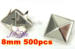 Wholesale rivets Spike Studs mm Silver Pyramid Studs Spots Punk Rock Nailheads DIY Spikes Bag Shoes