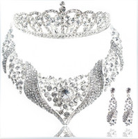 Wholesale The bride headdress bridal jewelry wedding jewelry necklace crown earrings three piece