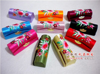 Wholesale Empty Lipstick Cases with Mirror Chapstick Packaging Boxes Embroidered Lip gloss Containers Silk cloth Lip Balm Tube mix color Fre