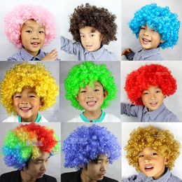 Wholesale New Party Rainbow Afro Clown Child Adult Costume Football Fan Wig Hair Halloween Or Football Fan Fun