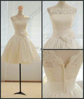 Wholesale Actual Image Short Beach Wedding Dresses Jewel Lace and Taffeta A line Mini Beach Bridal Gown