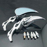 Other   MOTORCYCLE CHROME TEARDROP FLAME HANDLEBAR SIDE REAR VIEW MIRRORS 8 10MM FOR HARLEY #10026 @CF