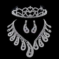 Wholesale Stock Noble Romantic Three Pieces Necklace Crown Tiara Earrings Wedding Bridal Sets