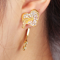 Wholesale Ear Cuff earrings Golden Jewelry Alloy Rhinestone Love Best Gift LK3126