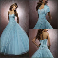 Wholesale Custom made exquisite applique beads lace up ball gown ice blue prom dresses white wedding dresses