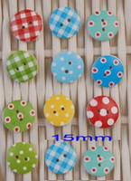 Wholesale Multi Colors Polka Gingham Wood Buttons DIY Craft Scrapbooking Supply Size15mm