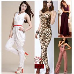 Wholesale Fashion Micro fiber strapless leopard pattern Elasticity jumpsuit sexy elegant nightclub jumpsuit