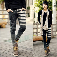 Wholesale Casual jeans for men slim skinny jeans star print design jeans south korean style black