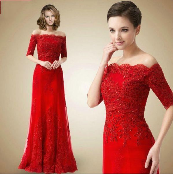 Вечерние платья красные кружевные