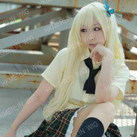 yellow Boy Show as pictures Heat Resistant Long curl light milky blonde Cosplay Party Wig