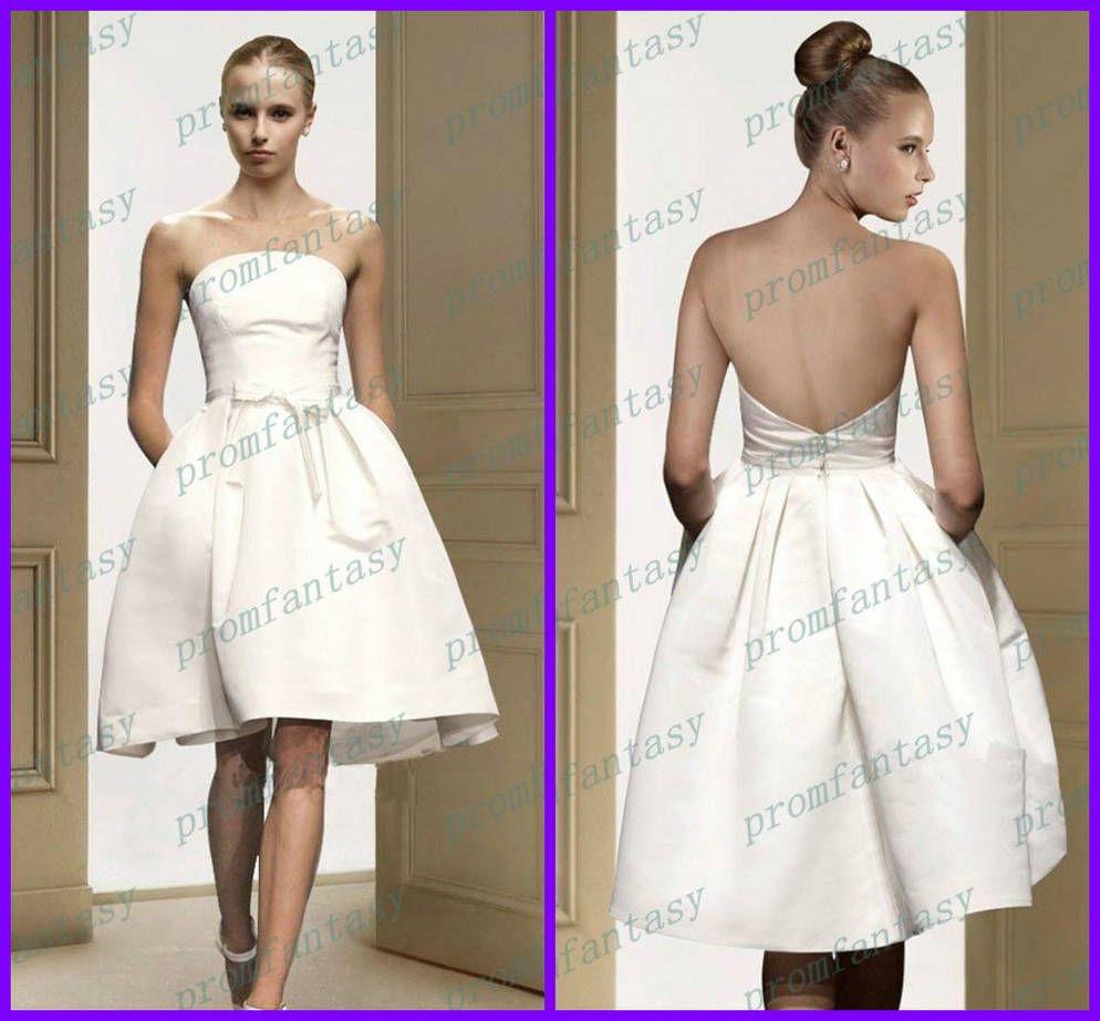 2017 Vintage Short Satin Ball Gown Strapless Bow Sash White/Ivory ...
