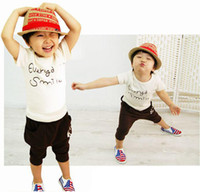 Wholesale Boys Outfit Kids Set Summer Wear Short Sleeve Set Children Clothing Suit Smiling Face T shirt Pants