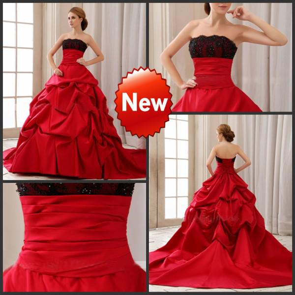 Discount red with black lace strapless wedding gowns ball for Red and black wedding dresses for sale