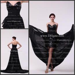 Wholesale Actual Imagine sweetheart Zipper Hi Lo chiffon New floor Length Sexy Evening Dress