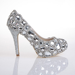 Wholesale Hand Design Top White Diamond Crystal Shoes High Diamond Shoes For Women s Shoes High Heeled Shoes