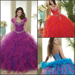 Wholesale Personalised Dramatic New arrival princess rhinestone rich flouncing ball gown sweep train purple red quinceanera dresses