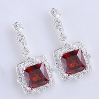 Red Women's Engagement Womens 9x9 Square Stone Red Garnet Shining Dangle .925 Sterling Silver Earrings NAL E029