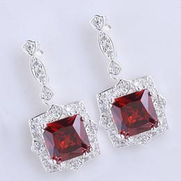 Womens 9x9 Square Stone Red Garnet Shining Dangle .925 Sterling Silver Earrings NAL E029