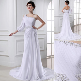 Wholesale Real Image One Shoulder Sleeve Wedding Dresses Beads Pleat Sheath Court Train Bridal Gown LLH77