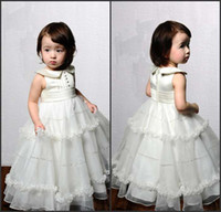 Wholesale Beautiful sweetly baby collor ball gown back zipper button ankle length white girl flower dresses