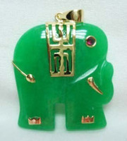 Lockets   Noblest men women's green jade elephant 18KGP pendant free ship