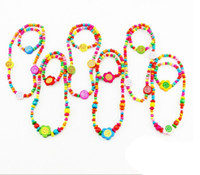 Wholesale CHILDREN JEWELRY SET GIRL MIXED CUTE WOOD BEADS NECKLACE BRACELET SET New Baby Kids Gifts sets
