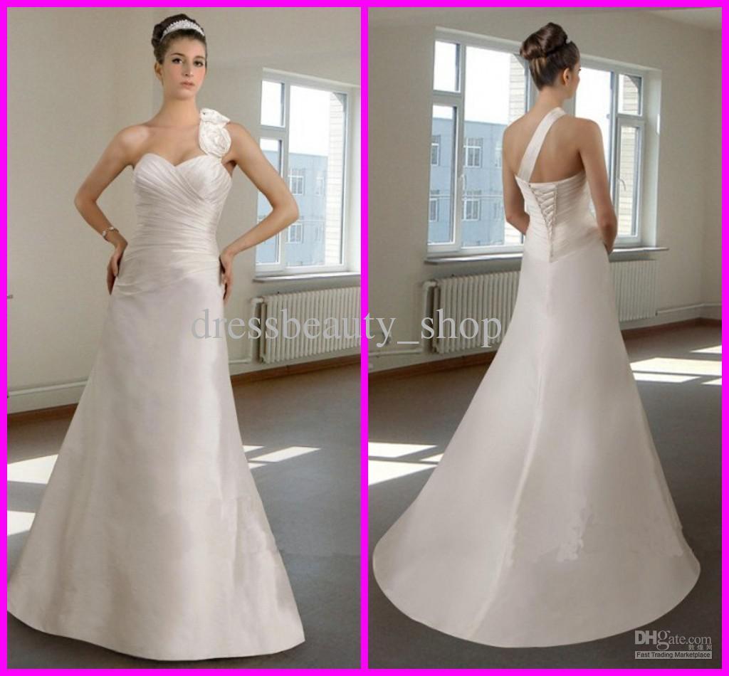 Discount corset a line wedding dresses 2013 one shoulder for Simple corset wedding dresses